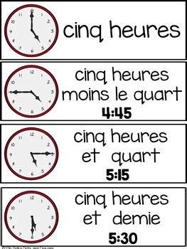 FRENCH Telling Time Vocabulary Cards and Student Clock