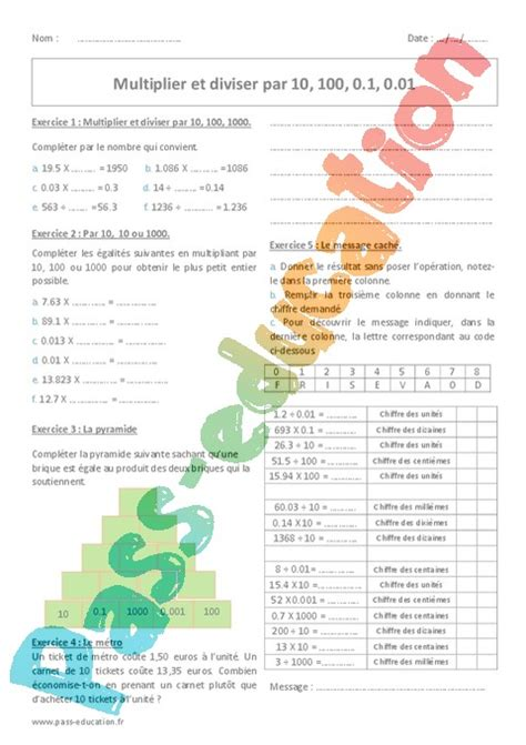 Exercice Multiplication : 6ème - Cycle 3 - Pass Education