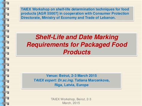 Shelf life and date marking requirements for packaged food