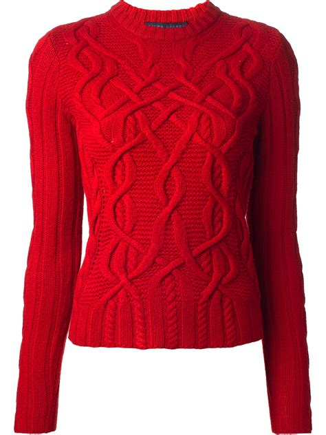 Ralph Lauren Blue Label Cable Knit Sweater in Red - Lyst