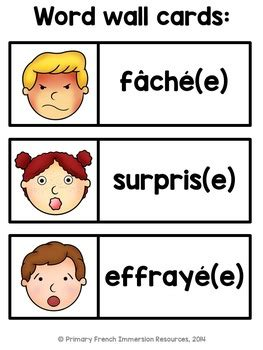 Les émotions - French emotions - flashcards and games | TpT