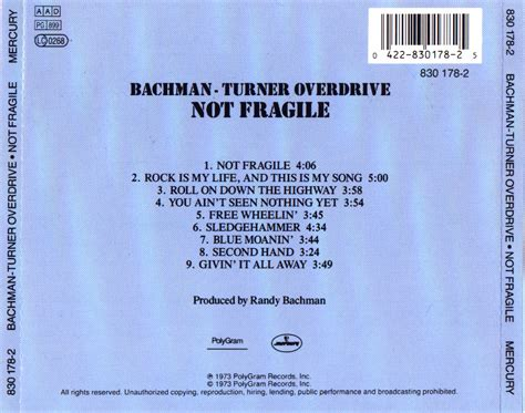 Musicotherapia: Bachman-Turner Overdrive - Not Fragile (1974)